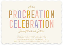 This is a gold baby shower invitation by Stacey Hill called Procreation Celebration with standard printing on signature in standard.