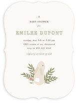 This is a beige baby shower invitation by Angela Garrick called petit lapin with standard printing on signature in standard.