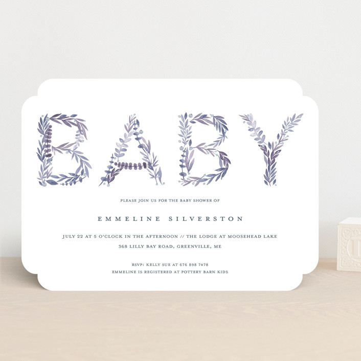 """Gentle Foliage Letters"" - Baby Shower Invitations in Succulent by Petra Kern."
