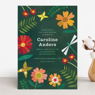 Garden Border Baby Shower Invitations