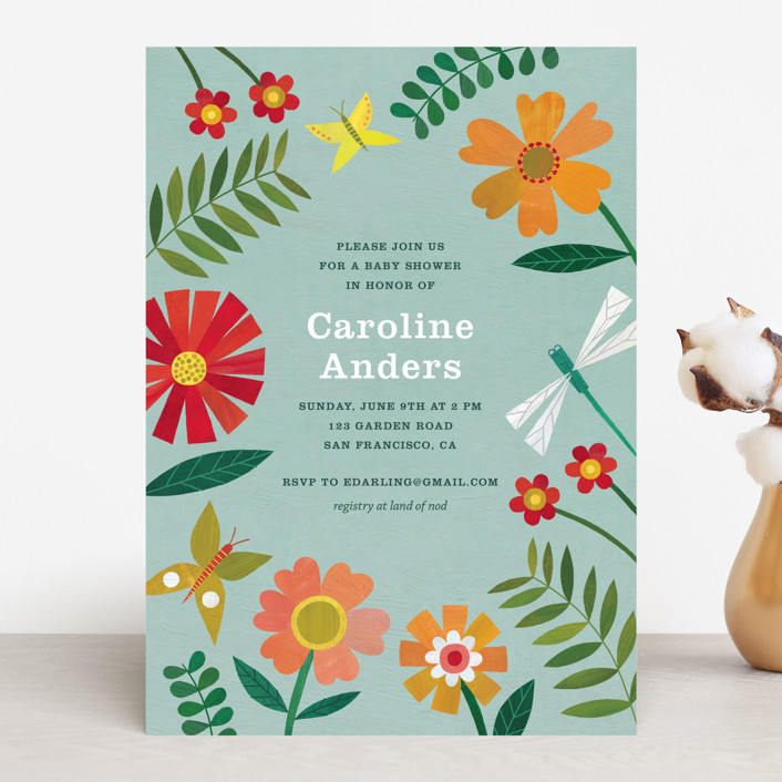 """""""Garden Border"""" - Baby Shower Invitations in Sky by melanie mikecz."""