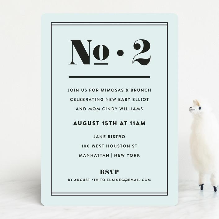 """""""Numero"""" - Baby Shower Invitations in Powder Blue by Dawn Jasper."""