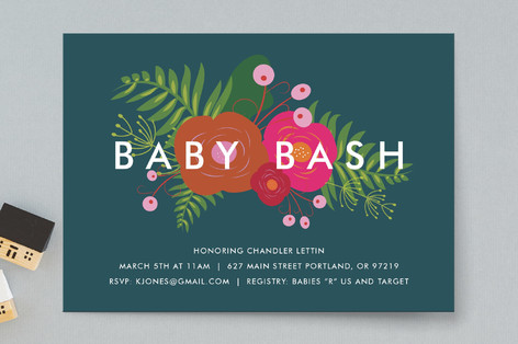 Funky Florals Baby Shower Invitations