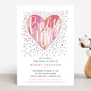 Baby Love Heart Baby Shower Invitations