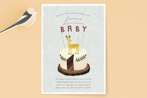 Deer Cake Baby Shower Invitations