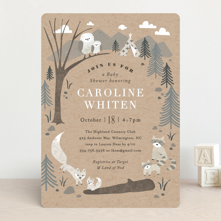 """Woodland's welcome"" - Baby Shower Invitations in Kraft by Jennifer Wick."