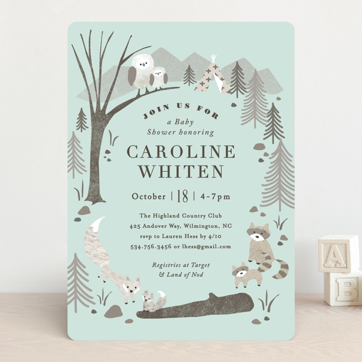 """""""Woodland's welcome"""" - Baby Shower Invitations in Kraft by Jennifer Wick."""