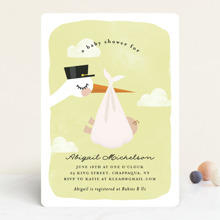 """Special Delivery"" - Baby Shower Invitations in Sky by Annie Holmquist."