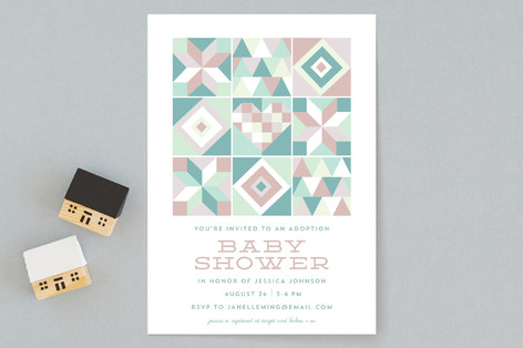 Sewn Together With Love Baby Shower Invitations