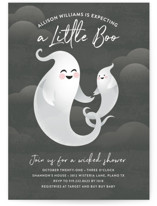 This is a black baby shower invitation by Jessica Ogden called Little Boo with standard printing on signature in standard.