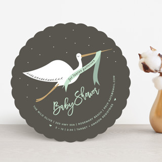 Stork Banner Baby Shower Invitations