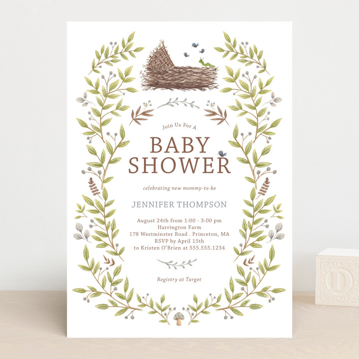 """Enchanted Lullaby"" - Baby Shower Invitations in Latte by Paula Pecevich."