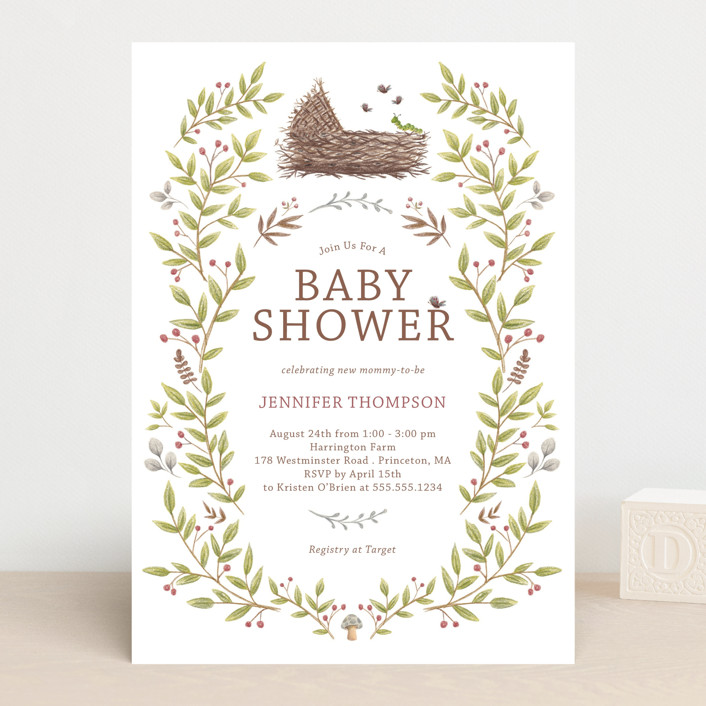 """""""Enchanted Lullaby"""" - Baby Shower Invitations in Latte by Paula Pecevich."""
