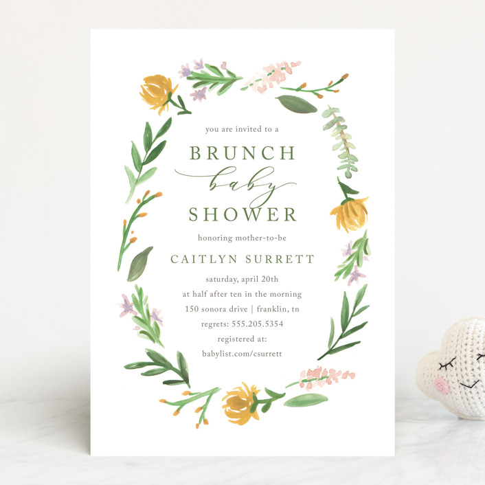 """""""English Garden"""" - Baby Shower Invitations in Goldenrod by Amy Kross."""