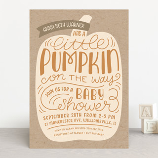 Little Pumpkin Baby Shower Invitations