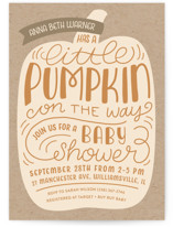 This is a beige baby shower invitation by Laura Hankins called Little Pumpkin with standard printing on signature in standard.