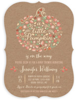 This is a brown baby shower invitation by Paper Sun Studio called Little Pumpkin with standard printing on signature in standard.