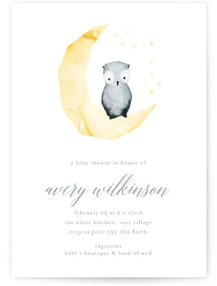 Hand painted Moon Owl Baby Shower Invitations