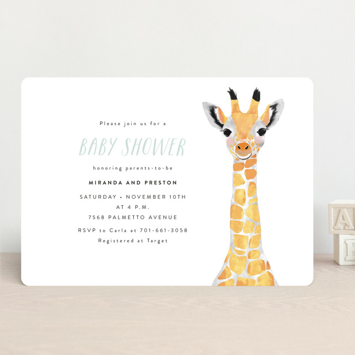 """""""Baby Animal Giraffe"""" - Modern, Whimsical & Funny Baby Shower Invitations in Marigold by Cass Loh."""