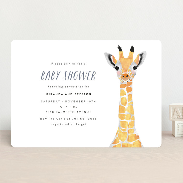 """Baby Animal Giraffe"" - Modern, Whimsical & Funny Baby Shower Invitations in Marigold by Cass Loh."