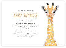 This is a colorful baby shower invitation by Cass Loh called Baby Animal Giraffe with standard printing on signature in standard.