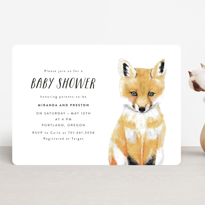 """""""Baby Animal Fox"""" - Baby Shower Invitations in Cloud by Cass Loh."""