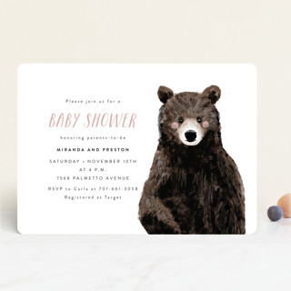 Baby Animal Bear Baby Shower Invitations