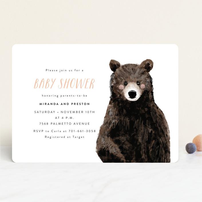"""Baby Animal Bear"" - Baby Shower Invitations in Denim by Cass Loh."