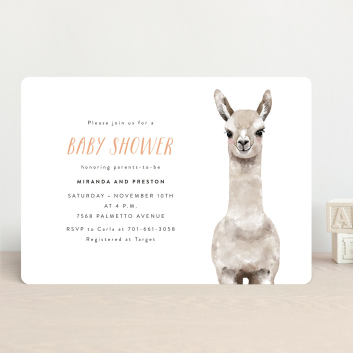 """Baby Animal Llama"" - Baby Shower Invitations in Mint by Cass Loh."