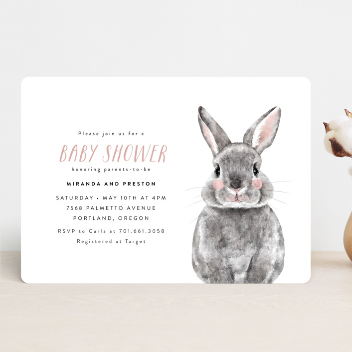 """Baby Animal Rabbit"" - Baby Shower Invitations in Blush by Cass Loh."