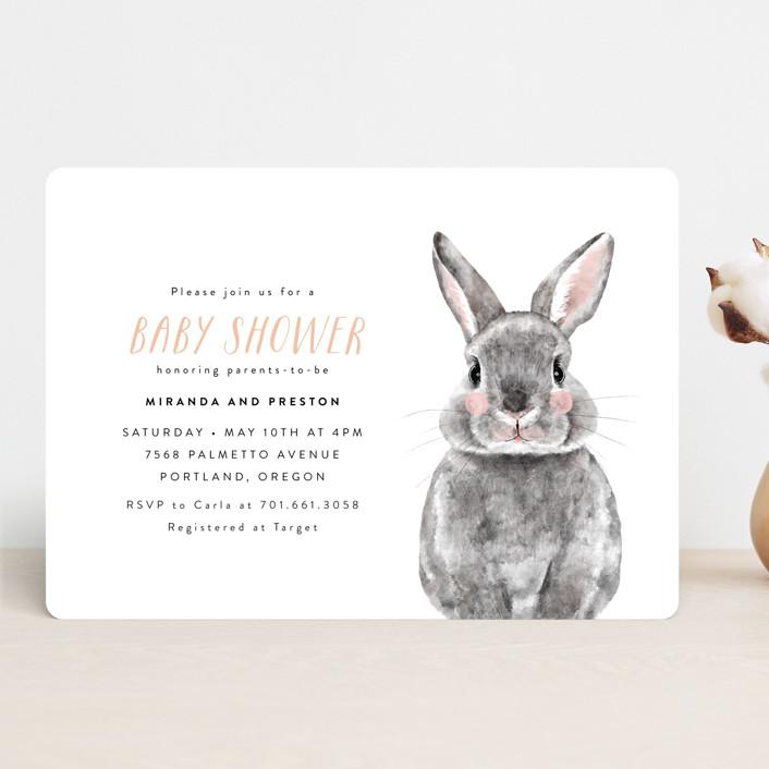 """Baby Animal Rabbit"" - Baby Shower Invitations in Blush by Cass Loh."