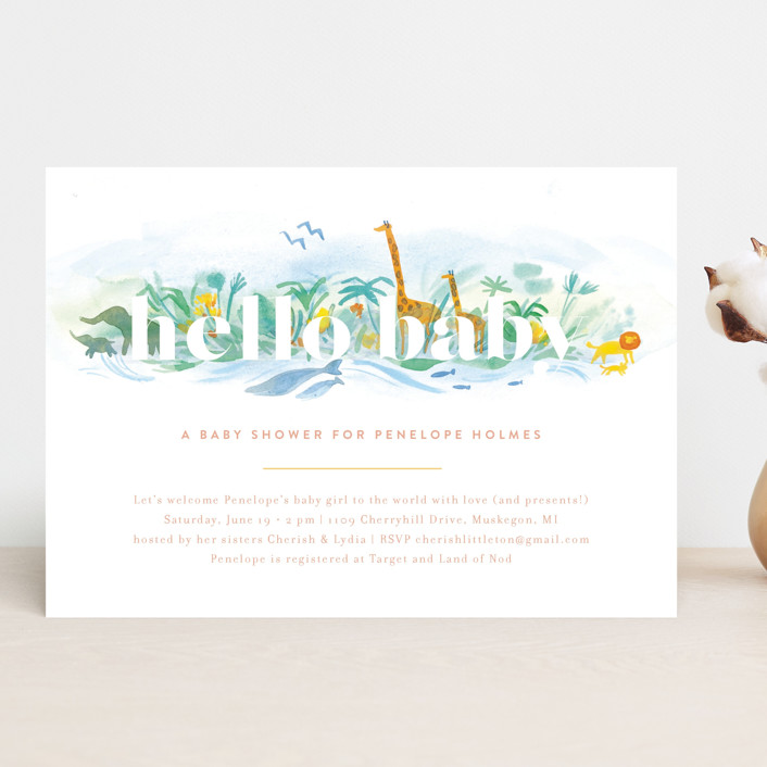 """""""Whole World"""" - Baby Shower Invitations in Whale by Rebecca Daublin."""