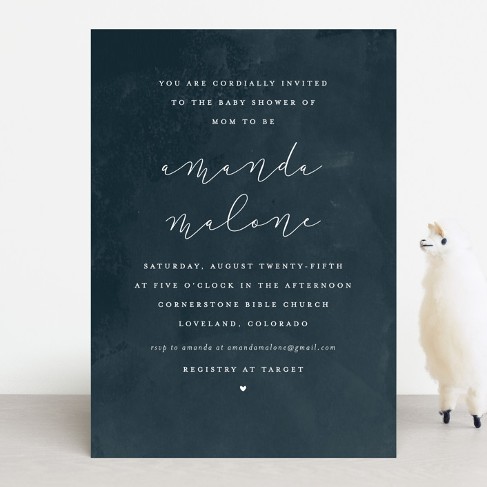 """""""Simply Perfect"""" - Baby Shower Invitations in Navy by peony papeterie."""