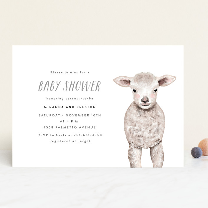 """""""Baby Animal Sheep"""" - Baby Shower Invitations in Frost by Cass Loh."""
