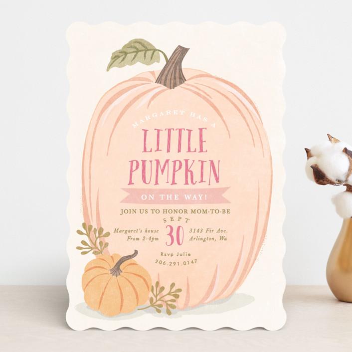 """Autumn Pumpkin"" - Baby Shower Invitations in Peach by Karidy Walker."