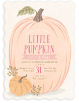 This is a pink baby shower invitation by Karidy Walker called Autumn Pumpkin with standard printing on signature in standard.