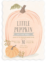 This is a grey baby shower invitation by Karidy Walker called Autumn Pumpkin with standard printing on signature in standard.