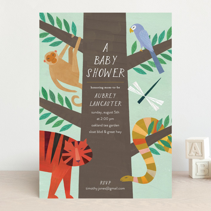 """""""Jungle Animals"""" - Baby Shower Invitations in Forest by melanie mikecz."""