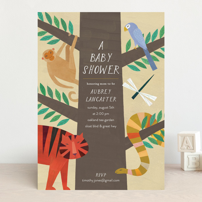 """Jungle Animals"" - Baby Shower Invitations in Forest by melanie mikecz."
