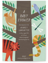 This is a green baby shower invitation by melanie mikecz called Jungle Animals with standard printing on signature in standard.
