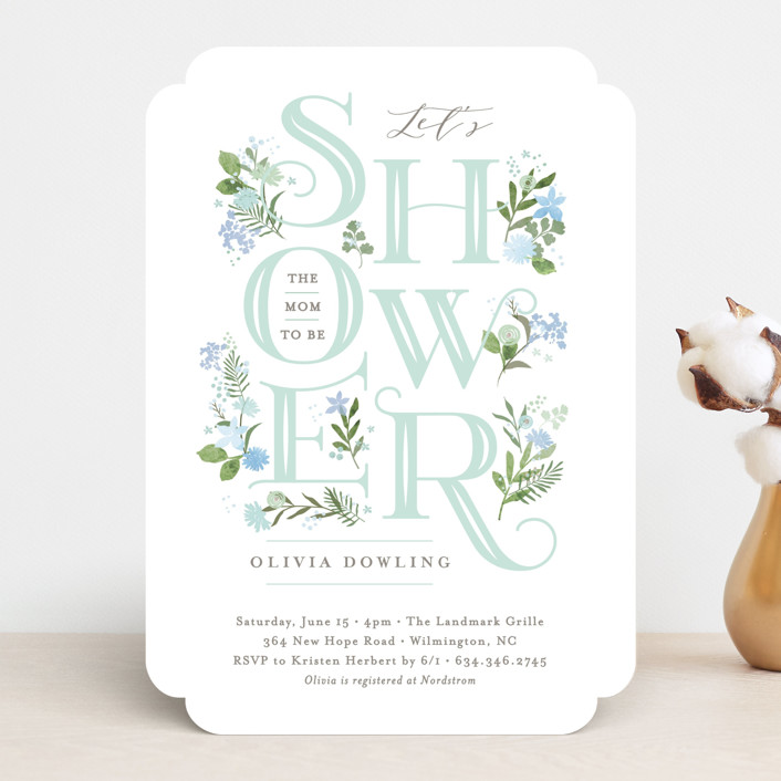 """""""Cascading Shower"""" - Baby Shower Invitations in Sage by Jennifer Wick."""