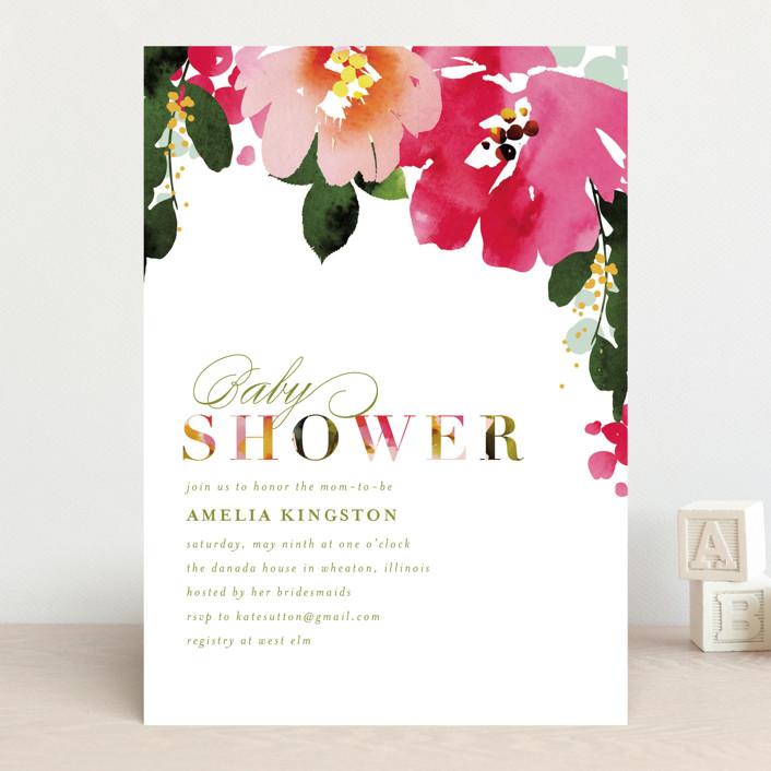 """Vivacious"" - Baby Shower Invitations in Peony by Angela Marzuki."