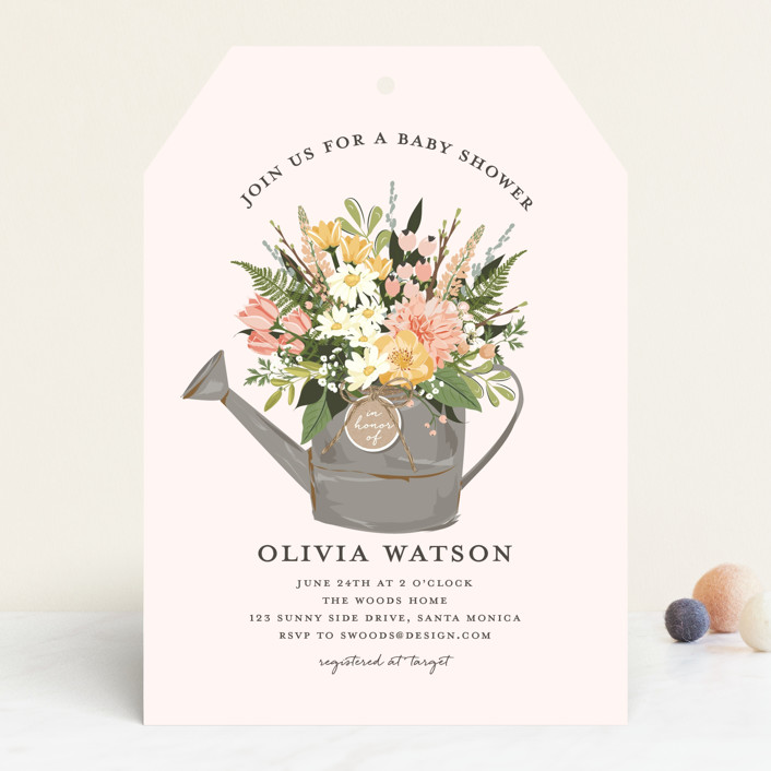 """Flowers & Greens"" - Baby Shower Invitations in Blush by Susan Moyal."