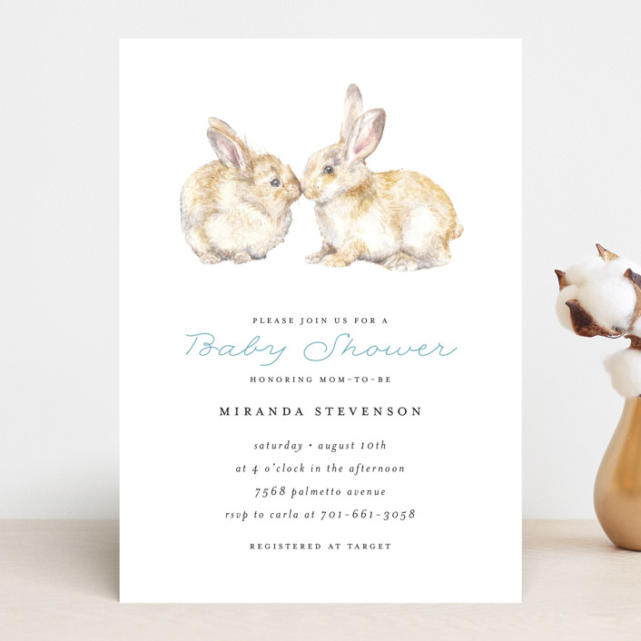 """Snuggling Bunnies"" - Baby Shower Invitations in Pond by Lauren Rogoff."