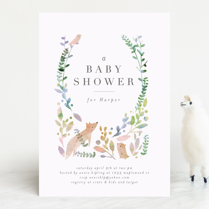 """""""Woodland"""" - Baby Shower Invitations in Forest by Lori Wemple."""