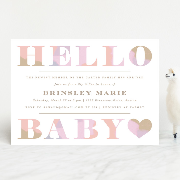 """""""Hello Sweet baby"""" - Baby Shower Invitations in Carnation by Creo Study."""
