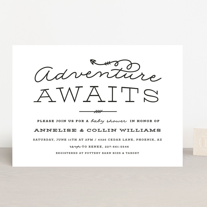 """""""Adventure Awaits"""" - Baby Shower Invitations in Navy by Ink and Letter."""