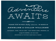 This is a blue baby shower invitation by Ink and Letter called Adventure Awaits with standard printing on signature in standard.