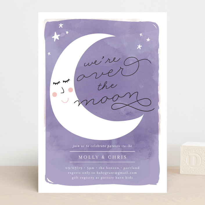 """""""Over the Crescent Moon"""" - Baby Shower Invitations in Horizon by Lisa McLean."""