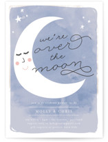 This is a blue baby shower invitation by Lisa McLean called Over the Crescent Moon with standard printing on signature in standard.